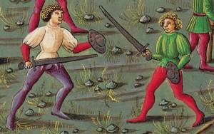 Addestramenti con spada e boccoliere_De Sphaera_folio 8v