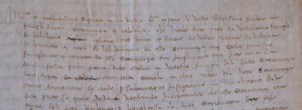 Parte iniziale della supplica datata 4 febbraio 1472.