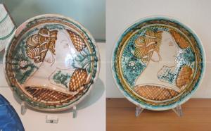 Ciotola con profilo muliebre, ingobbiata, graffita e invetriata, fine XV-inizi XVI sec (MIC Faenza, inv. 9831); a destra la sua replica (coll. IMAGO ANTIQUA).